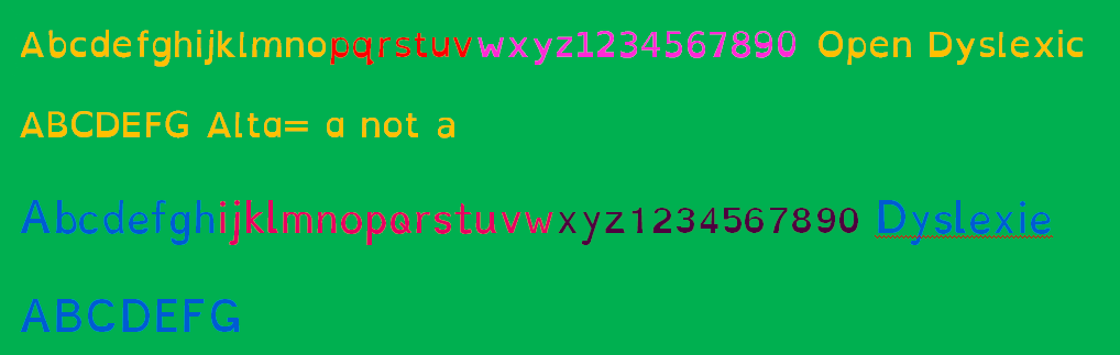 color fonts for dyslexics