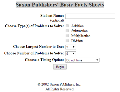 Saxon Math Basic Facts Sheets