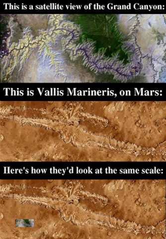 Vallis marinarus vs Grand Canyon